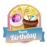Happy birthday badge theme with sweet cupcakes. Additional file in eps 10 file Royalty Free Stock Photo