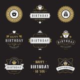 Happy Birthday Badges and Labels Vector Design Elements Set. vector illustration