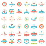 Happy Birthday Badges and Labels Vector Design Elements Set. stock illustration