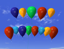 Happy birthday ballons. 3d rendering happy birthday ballons on air Royalty Free Stock Images