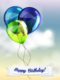 Happy birthday ballons greeting card blue and Royalty Free Stock Images
