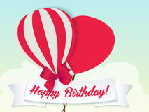 Happy birthday ballons greeting card red paper Royalty Free Stock Photos