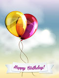 Happy birthday ballons greeting card red and Royalty Free Stock Image