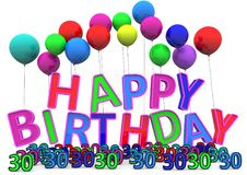 Happy Birthday. At ballons with numbers Stock Images