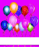 Happy Birthday Balloon Background with Gold Royalty Free Stock Photography