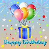 Happy birthday balloon and gifts. Celebration and festive series Royalty Free Stock Photo