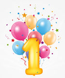 Happy Birthday balloon with number Royalty Free Stock Images