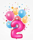 Happy Birthday balloon with number Royalty Free Stock Photos