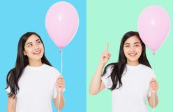 Happy birthday. Balloon party collage. Happy asian girl with balloons isolated on white colorful background. Copy space. Blank royalty free stock image