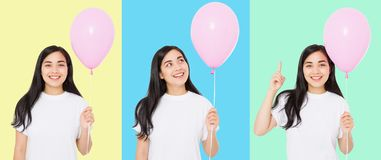 Happy birthday. Balloon party collage. Happy asian girl with balloons isolated on white colorful background. Copy space. Blank royalty free stock images