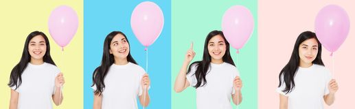Happy birthday. Balloon party collage. Happy asian girl with balloons isolated on white colorful background. Copy space. Blank royalty free stock photo