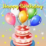 Happy birthday balloon pink cake. Celebration and festive series Royalty Free Stock Photography