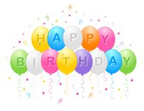 Happy birthday balloons. Illustration of balloons with a happy birthday greeting vector format available Stock Photos