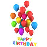 Happy Birthday Balloons. High quality 3d image of balloons and birthday sign Royalty Free Stock Photography