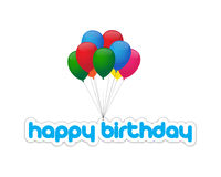 Happy birthday balloons. Balloons with happy birthday message Stock Photo
