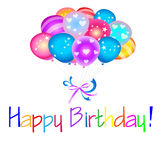 Happy Birthday with balloons. Happy Birthday with colored balloons Royalty Free Stock Photos