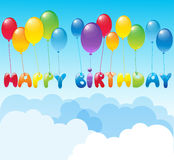 Happy Birthday with balloons. Happy Birthday background with colorful balloons Stock Image