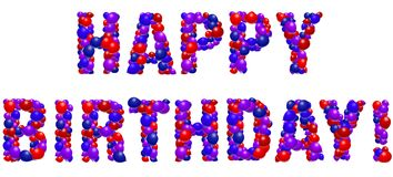 Happy Birthday Balloons. Red, purple and blue balloons spell out Happy Birthday Stock Image