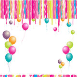 Happy Birthday! Balloons And Confetti. Royalty Free Stock Images