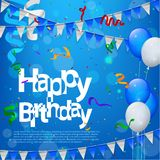 Happy Birthday with balloons in blue background. Vector Illustration Of Happy Birthday with balloons in blue background Stock Photos