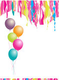 Happy birthday! Balloons and confetti. Stock Image