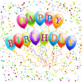 Happy birthday balloons. With confetti Royalty Free Stock Image