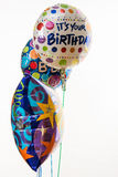 Happy Birthday Balloons filled with Helium Royalty Free Stock Photo