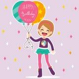 Happy Birthday Balloons Girl Royalty Free Stock Photos