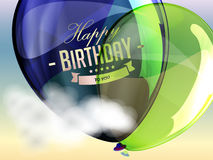 Happy birthday balloons greeting card blue and Stock Images