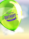Happy birthday balloons greeting card green Royalty Free Stock Images