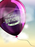 Happy birthday balloons greeting card violet Royalty Free Stock Images