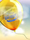 Happy birthday balloons greeting card yellow Royalty Free Stock Image