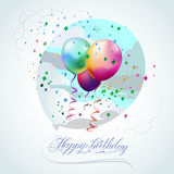 Happy Birthday Balloons. Balloons made by mesh gradient. Background with clouds is clipping mask. Handmade calligraphy lettering stock illustration