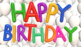 Happy birthday balloons multicolor Stock Images