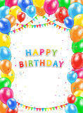 Happy Birthday balloons and pennants on white background Stock Image