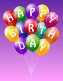 Happy Birthday Balloons Pink. A bunch of colorful realistic looking balloons, lettering Happy Birthday - vector on pink background Royalty Free Stock Photos