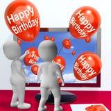 Happy Birthday Balloons Show Festivities and Invitations Online. Happy Birthday Balloons Showing Festivities and Invitations Online Stock Photos