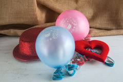 Happy Birthday. With balloons and sweets Stock Photo