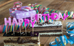 Happy Birthday. With balloons and sweets Royalty Free Stock Photo
