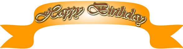 Happy birthday banner. Gold color happy birthday banner Royalty Free Stock Photos
