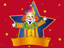 Happy birthday with banner. Card for birthday or party with clown and banner Stock Photos