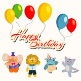 Happy birthday banner with balloons and cartoon dancing animals Stock Photo