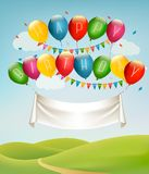 Happy birthday banner with balloons and landscape. Stock Illustration