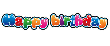 Happy birthday. Banner in bubble font Stock Image