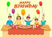 Happy Birthday Banner Cartoon Vector Template royalty free illustration