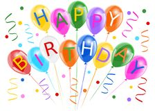 Happy birthday banner with colorful balloons vector illustration