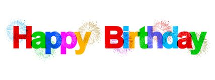 Happy birthday banner with colorful fireworks - vector