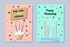 Happy Birthday Banner, Keep Calm and Celebrate. Cute cupcake with flaming candles, blue baking, birthday cards isolated on pink and green backgrounds Stock Image