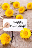 Happy Birthday Banner. Banner with Happy Birthday and many yellow Flowers Stock Photo