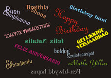 Happy Birthday Banner Multiple Languages. Happy Birthday in 11 different languages bright and colourful for use as a banner, gift tag, wrapping paper, card etc Royalty Free Stock Photo
